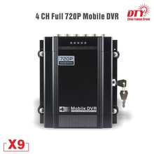4 channel HDD mdvr, 4 pin Aviation connector cms cctv dvr with video blind function, X9s-G