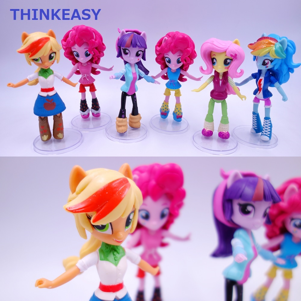 ThinkEasy 13cm Cute Horse Girl Poni Girls Toy For Children Christmas Gift, Desk Top Decorated Figures 6 styles