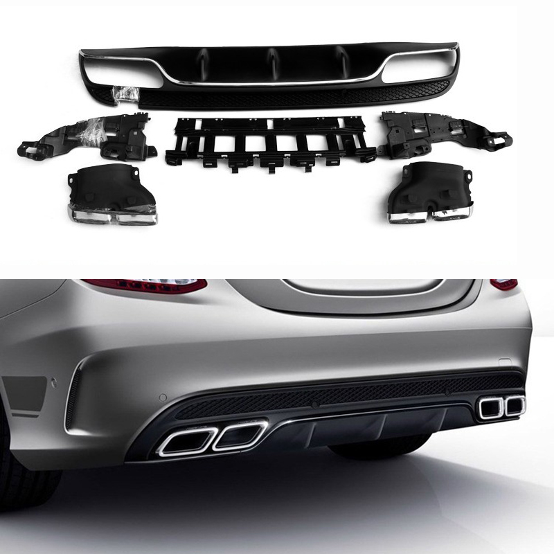 <font><b>Rear</b></font> Bumper <font><b>Diffuser</b></font> Lip with Exhaust for Mercedes Benz C-Class W205 4-Door Sport C200 C250 <font><b>C300</b></font> C350 C400 C43 2015-2018 image