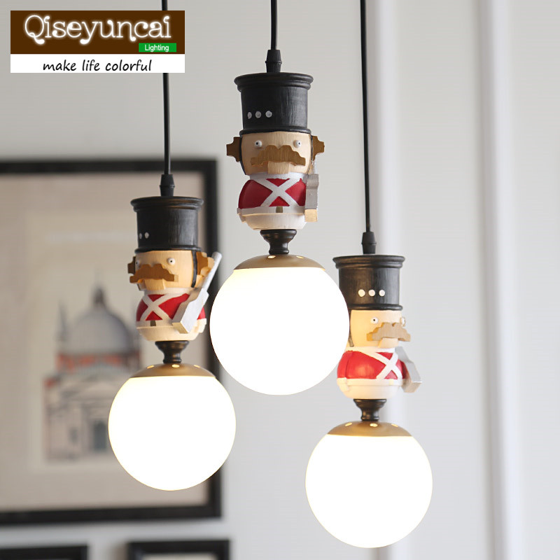 Qiseyuncai British soldier Nordic England children's room chandelier bar restaurant boy girl bedroom lighting qiseyuncai american children s room england soldier legion wall lamp boy girl bedroom lighting free shipping
