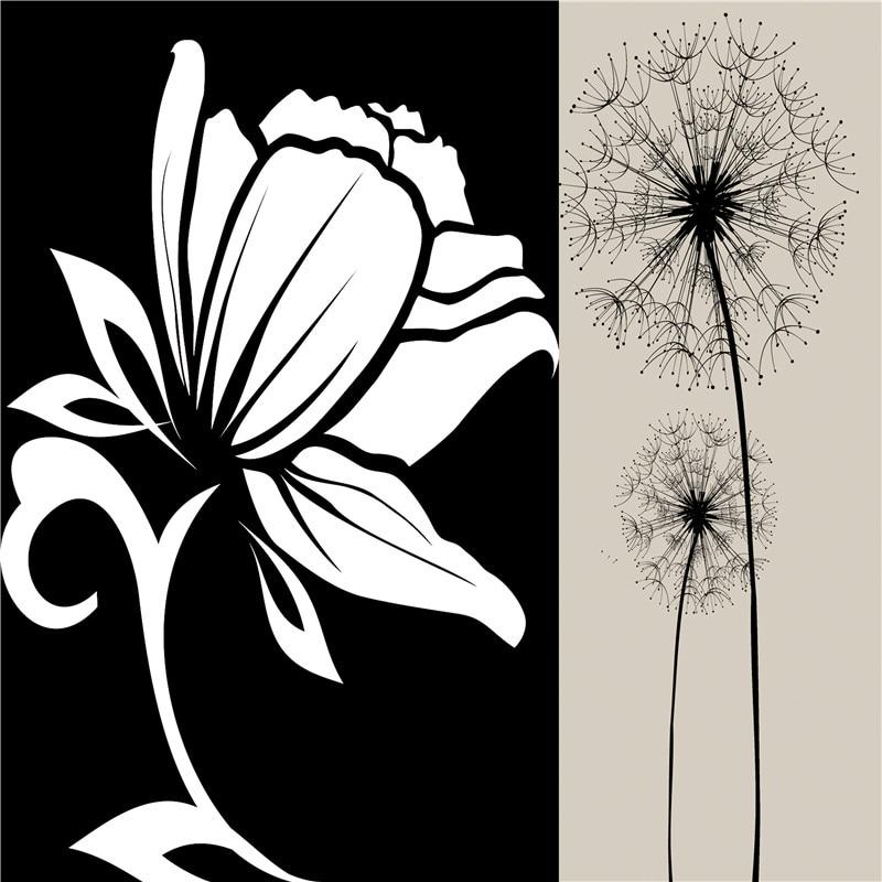 Online Shop Simple Art Flowers Canvas Print Painting Black Grey