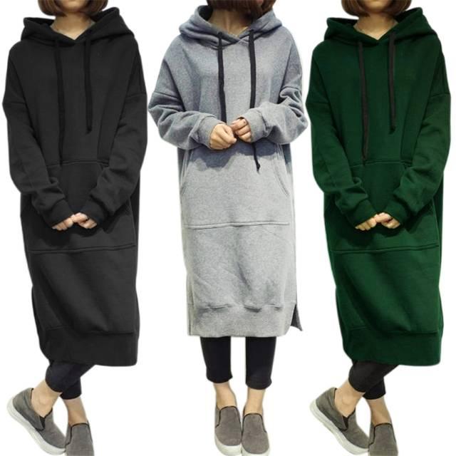 d37f1421e1f Online Shop Women s Long Sleeve Loose Casual Plus Size Sweatshirt Hoodies  Long Maxi Dress Green Gray Black