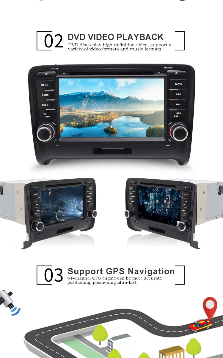 Best TOPBSNA 2 Din Car DVD Player For AUDI TT/TTS MK2 8J 2006-2012 GPS Navigaiton multimedia automotive dvd Auto Stereo Headunit USB 2