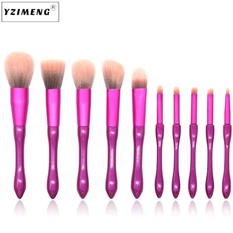 10 шт. Профессиональный набор кистей для макияжа, высокое качество, пудра, румяна, мягкие нейлоновые кисти для волос, инструменты для макияжа,