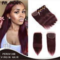 8A 99J Red Peruvian Straight human hair extension 4 Bundles Dark Wine Red Color Peruvian virgin hair burgundy weave With Closure