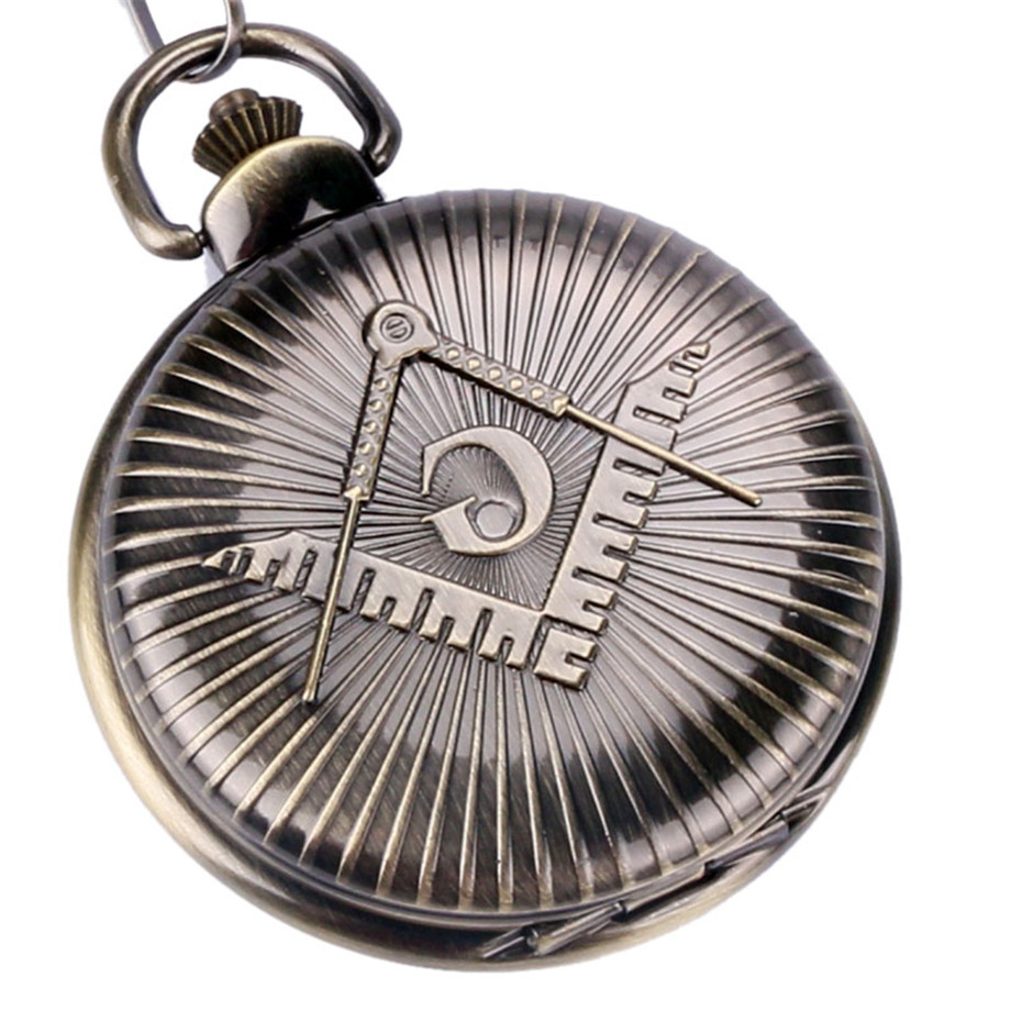 Classic Masonic Pocket Watch Big G Symbol Cover Thick Fob Chain Cool Free-Manson Pendant Clocks Special Gifts for Men Women 2017 retro freemason pocket watch sets with free masonic necklace pendant quartz fob watches chain best gifts set for men women