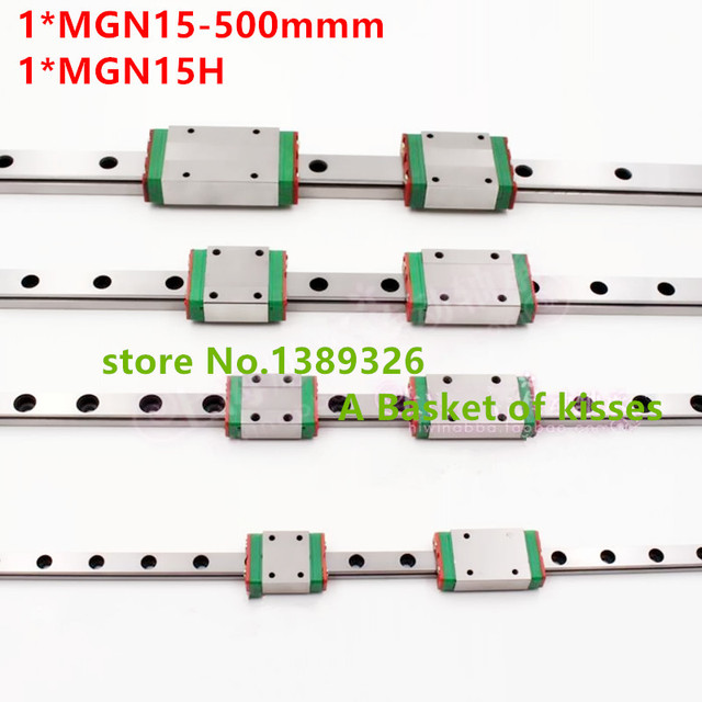 Free shipping 15mm Linear Guide MGN15 L= 500mm linear rail way + MGN15H Long linear carriage for CNC X Y Z Axis