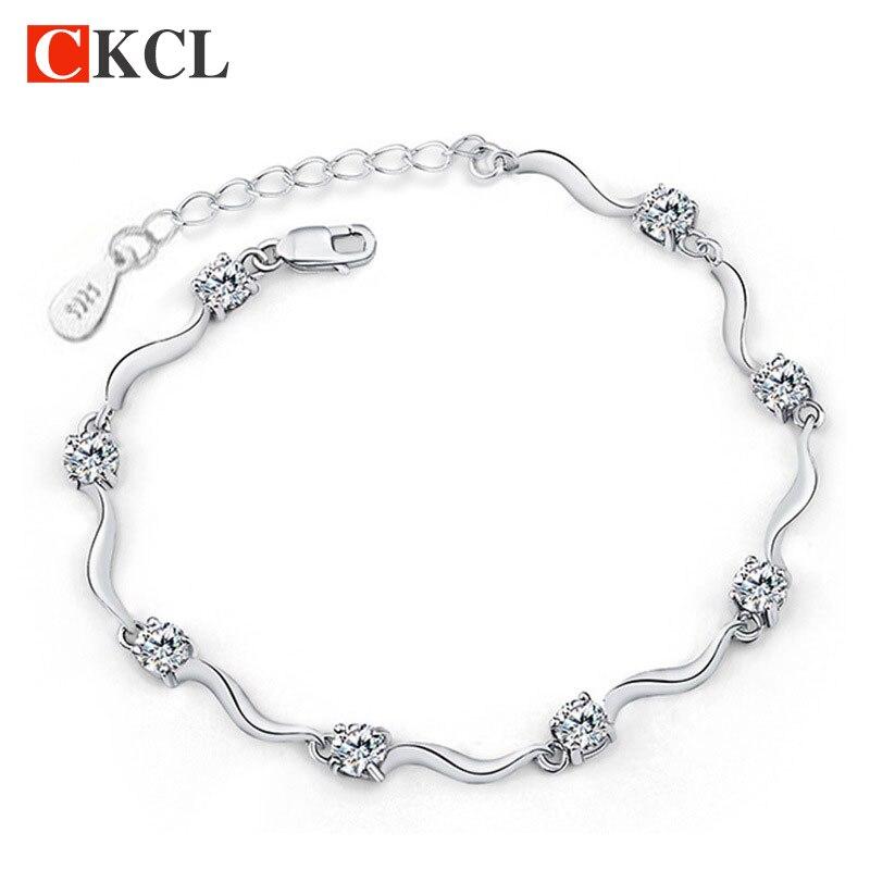 Fashion chain & link bracelets for women high quality crystal bracelets 925 sterling silver bracelets bangles fine jewelry