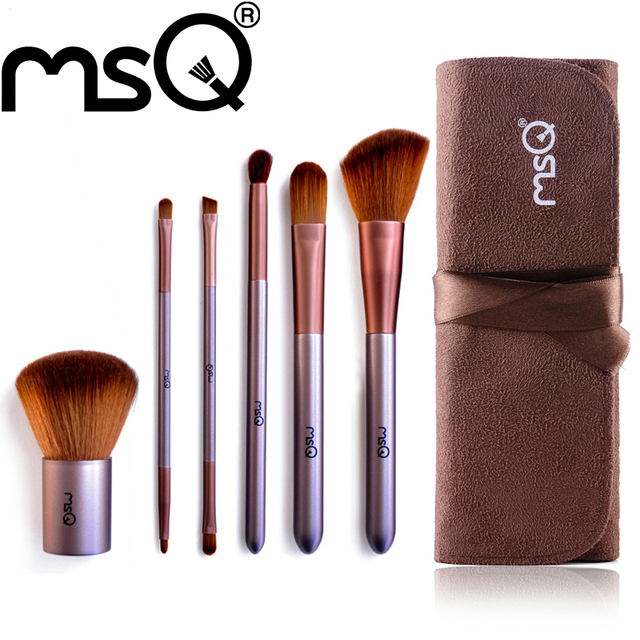 MSQ Brand 6pcs Soft Synthetic Hair Travel Size Wooden Handle+Synthetic Hair Makeup Brush Set Cosmetic For Fashion