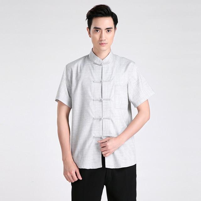 f256cb8395 Novelty Striped Chinese Men s Kung Fu Shirt Summer Hot Sale Cotton Linen  Casual Wu Shu Clothing
