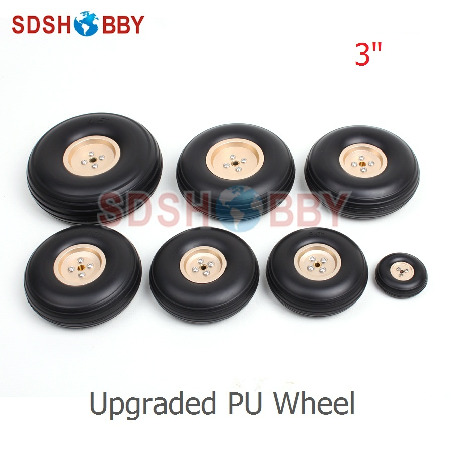 3.25in/83mm 3in/77mm 3.75in/96mm 3.5in/89mm PU Wheels RC Airplane Wheels Upgraded PU Wheels with Golden Aluminum Hub image