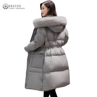 2017 frauen Nylon Lange Ente Daunenjacke Gans Feder Mantel Puffer Jacke Frauen Europäische Winter Jacke Plus Größe Warme Parka Okb111