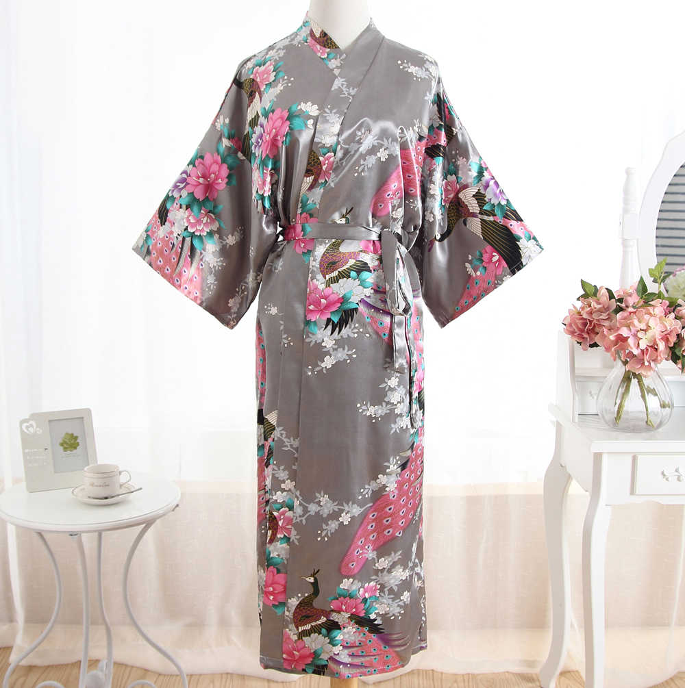 Sexy Gray Lady Summer Causal Robe Long Bathrobe Gown Women s Satin  Nightgown Lingerie Print Flower Kimono b1bfb7e84