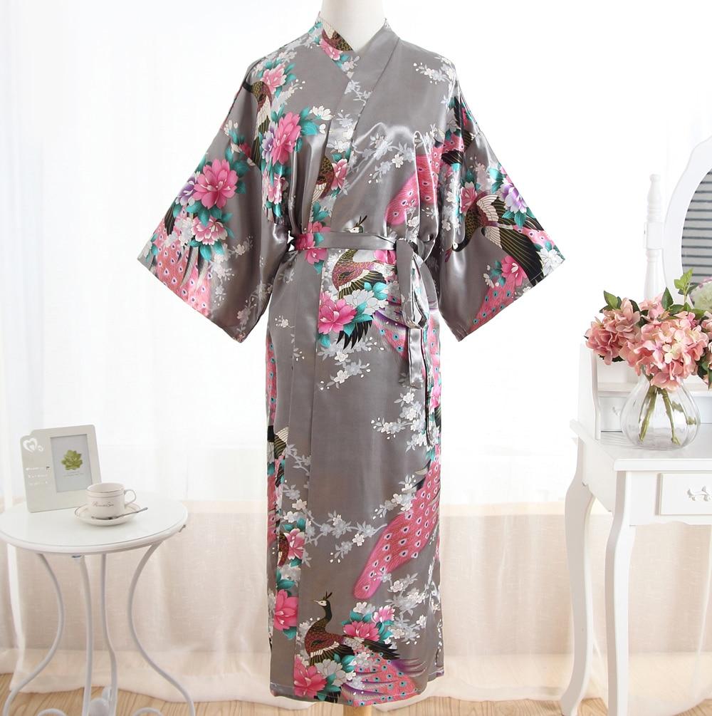 Sexy Gray Lady Summer Causal Robe Long Bathrobe Gown Women's Satin Nightgown Lingerie Print Flower Kimono Sleepwear One Size