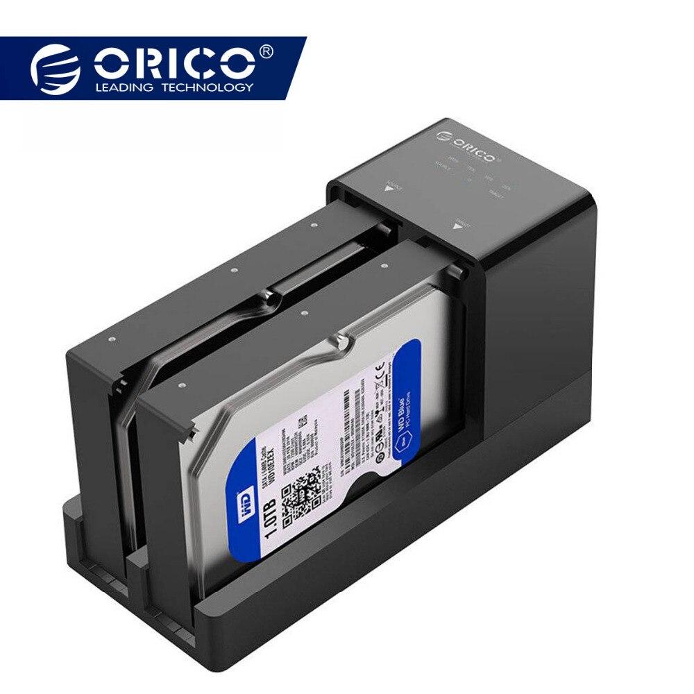 ORICO 2.5 3.5 boîtier disque dur sata Station D'accueil Hors Ligne Clone Super Vitesse USB 3.0 Disque Dur Soutien 10 TB 2 Bay noir 6528US3-C