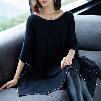 Autumn and winter casual women's solid color long section cloak shirt bat sleeve round neck pullover beaded shawl sweater 2