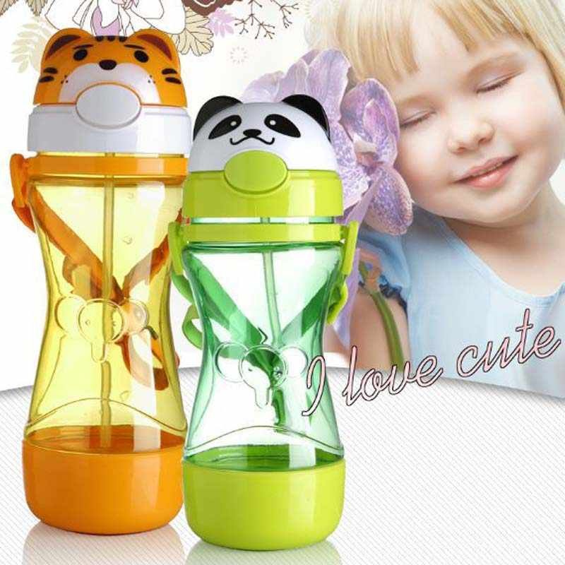 320ml Baby Bottle Cartoon Animals Kids Straw Cup Child Bottle Cups Children Learning Drinking Water Straw Training Cup Garrafa