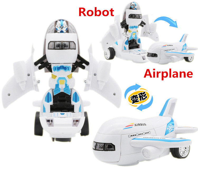 Electric Aircraft robot With colorful lights music automatic deformation Airplane Toy Plane Model Toy Gifts