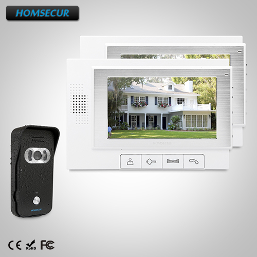 HOMSECUR 7 Wired Video&Audio Smart Doorbell+Black Camera 1C2M For Home Security TC021-B + TM702-W