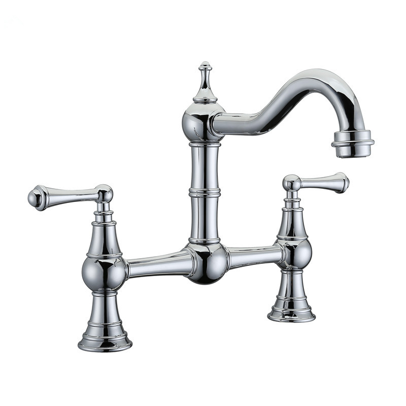 Free Ship Deck-Mount Solid Brass Two-Handle Two Holes Chrome Bridge Kitchen Faucet Mixer Tap