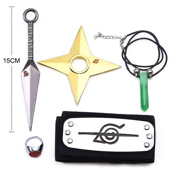 5Pcs Set Metal Naruto Kunai Cosplay Weapons Toy Set