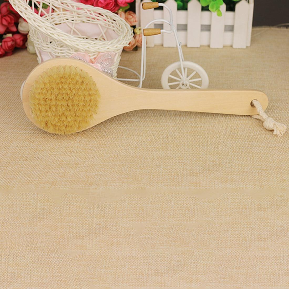 Promotions Bath Brush Wood Handle Natural Bristle Middle Long Handle Wooden Shower Body Bath Brush Round Head Bath Accessory