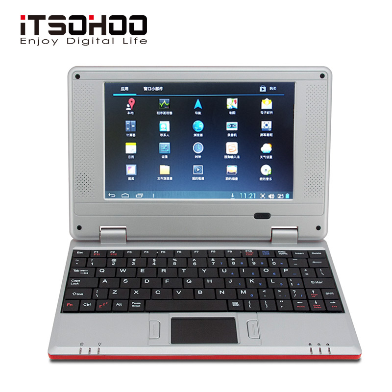 5 Colors Low Price 7 Inch Android Netbook Mini Laptop Students Computer With RJ45 Wifi Red Pink Green White Black For Kids