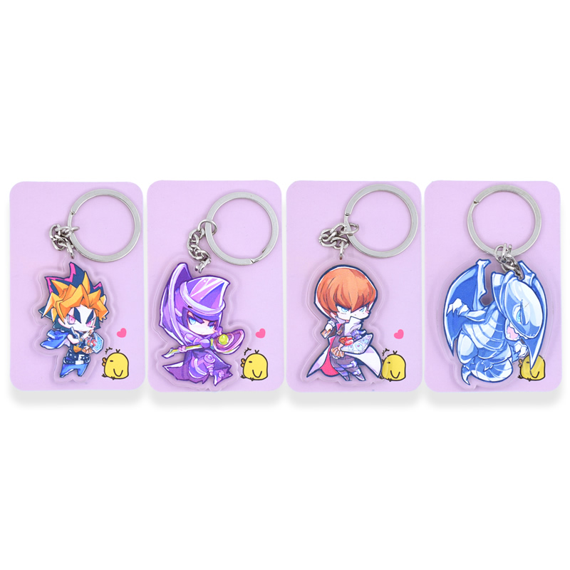4pcs/set Yu Gi Oh Keychain  Double Sided Comic Keyring Anime Acrylic Key Chain Accessories HS01