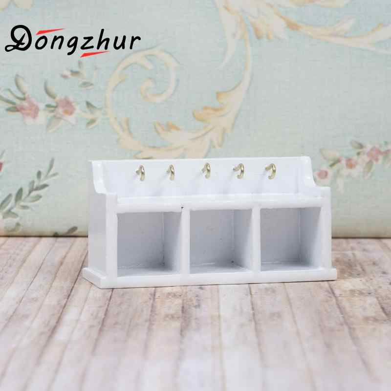 Dongzhur Wood Shelf Dollhouse Miniature 1:12 Mini Storage Cabinet With Hooks DIY Doll House Furniture Miniaturas Casa De Munecas