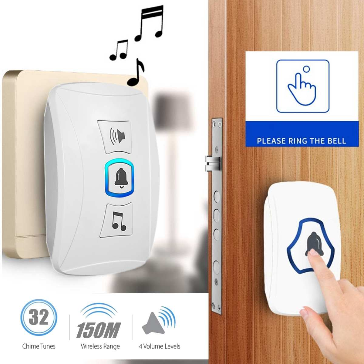Wireless Doorbell Waterproof Cordless Smart Home Door Bell Chime Kit 32 Chimes