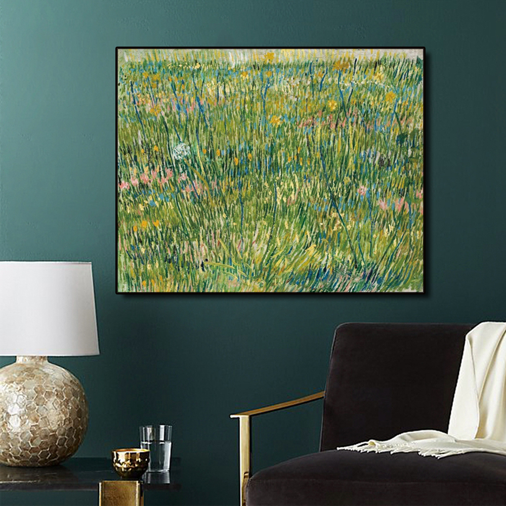 Laeacco Green Grassland by Van Gogh Canvas Painting Calligraphy Poster Prints Living Room Home Decor Art Picture