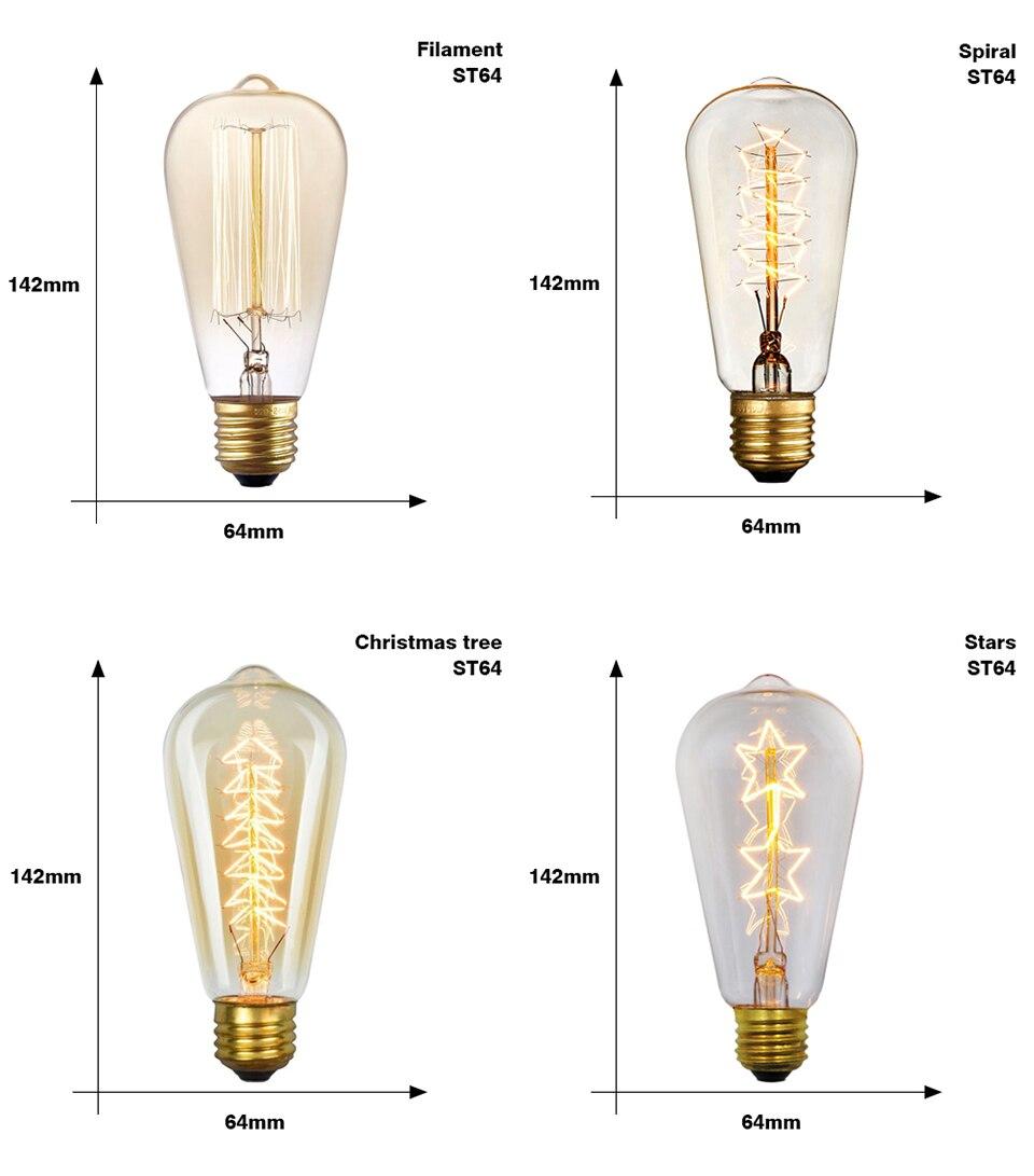 Эдисон лампы E27 40 Вт накаливания подвесной светильник в стиле ретро 220V ST64 A19 T45 T10 G80 G95 ампулы Винтаж лампа Эдисона лампа накаливания светильник лампочка