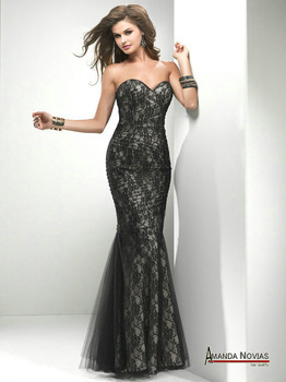Sweetheart Neckline Purple With Black Lace Overlay Mermaid Evening Dresses-in  Evening Dresses from Weddings   Events on Aliexpress.com  cfc7d913a5e6