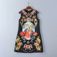2018 New High End Summer Pearl Diamond Lady Printed Vest Dress Women S Dress 180110LU06