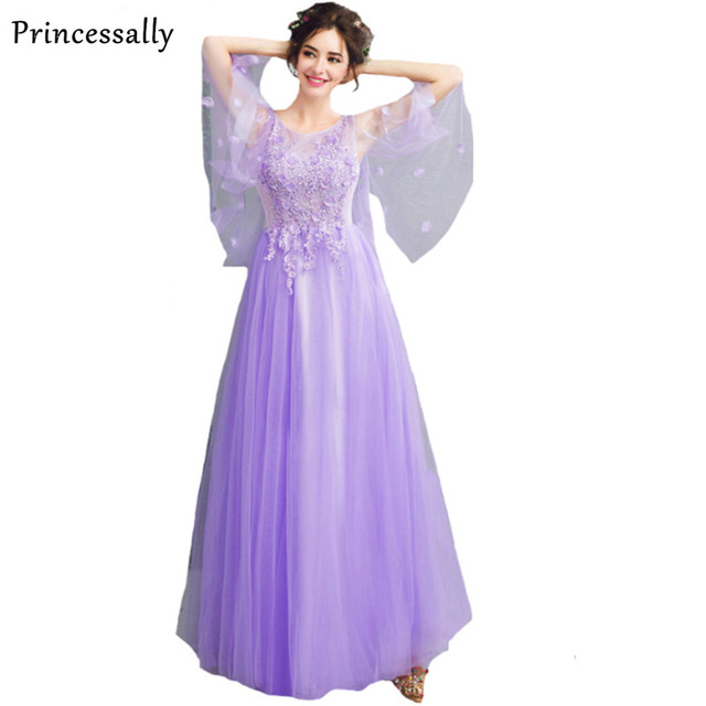 aaa85e0c64e4f9 New Sweet Light Purple Evening Dress Long The Bride Banquet Romantic  Embroidery Lace Flower Butterfly Sleeves Formal Party Gown