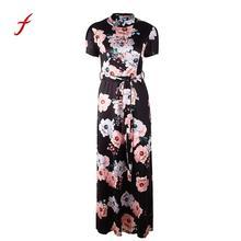 Casual Knee-Length O-Neck Floral Printed Short Sleeve Bandage Long Dress