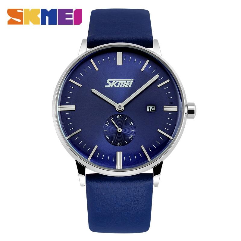 SKMEI Luxury Leather Strap For Man Quartz Watch Waterproof Men Business Clock Watches Top Brand Fashion Relogio Masculino 9083