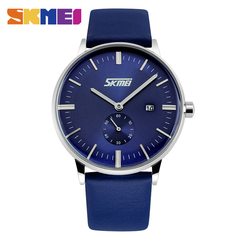 Prix pour SKMEI 9083 Hommes Montres Mâle Mode Casual Quartz Montre Classique Véritable Bracelet En Cuir Hommes Montre-Bracelet Relogio Masculino Hot Ventes