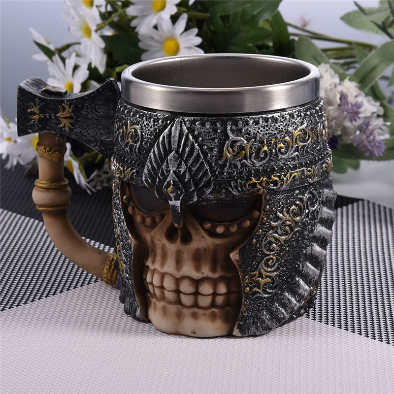 Battleax & Skull Tankard coffee Cup Viking Skull Horned Helmet Tankard Skull Warrior Tankard Gothic Drinking Vessel Super Cool