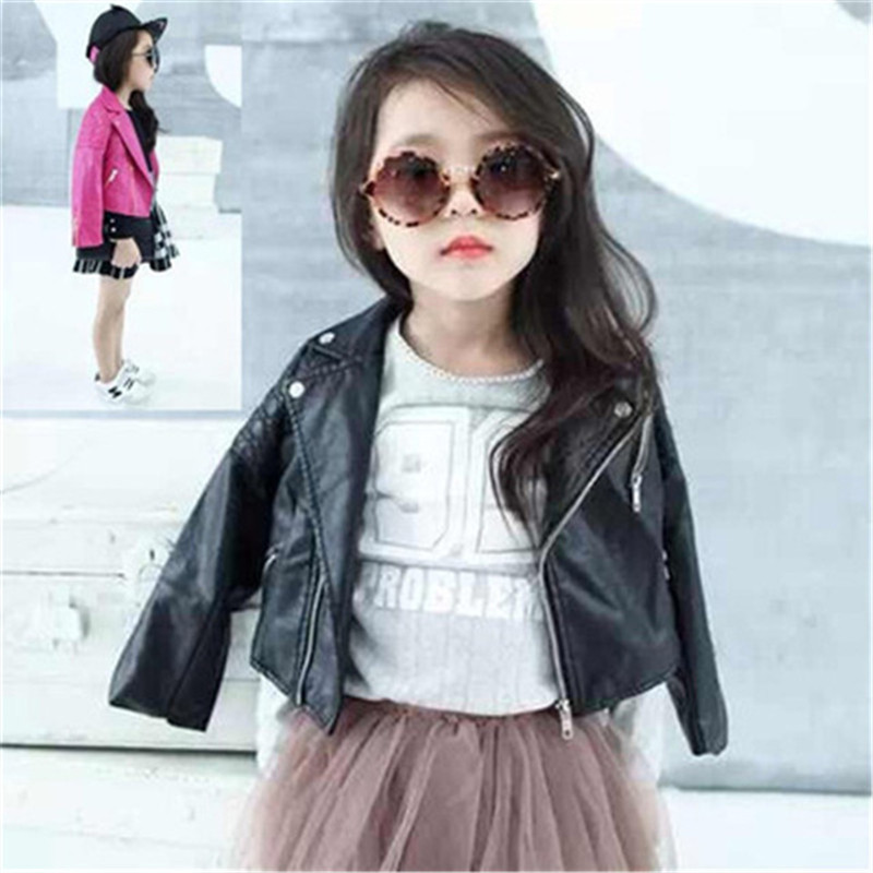 ideacherry Fashion Leather Baby Spring Girl Jacket Girl Outerwear &Coats Spring PU Leather Full Sleeve Children's Leather Jacket pu leather and corduroy spliced zip up down jacket