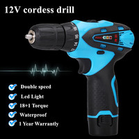 12V Double Speed Waterproof Rechargeable Electric Drill Cordless Drill Portable Drill Screwdriver Tool Set 1 Battery