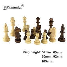 32 Wooden Chess Pieces King Height 54/65/80/92/105mm Game Chessmen Competitions Set Kid Adult Gift IA14