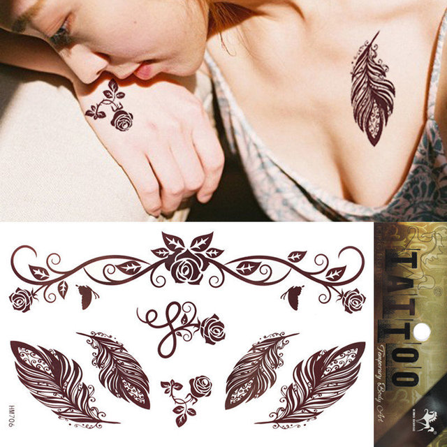 1pcs Temporary Brown Henna Tattoo Rose Feather Tattoo Body Art Party