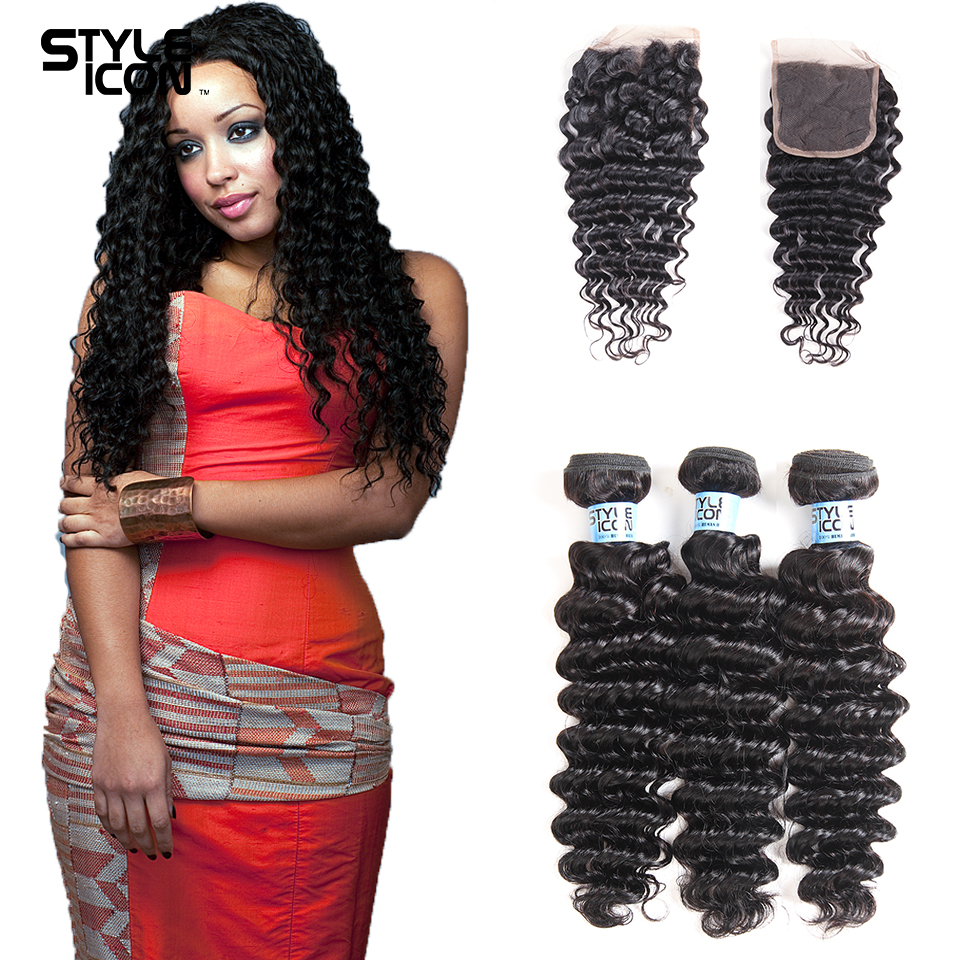 Styleicon Humain Hair Deep Wave Bundles With Closure Brazilian Hair Weave 3 Bundles With Closure Non Remy Hair Extension