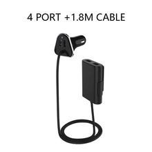 4 USB Port 9.6A Car-Charger For Universal Auto AUX 12V-24V Fast Car Cigarette Lighter AC Adapter For Back Set With 1.8m Cable