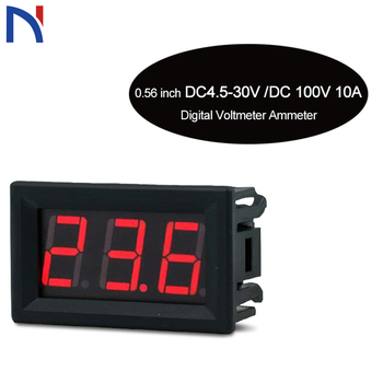 0.56inch Mini Digital Voltmeter Ammeter DC 100V 10A Voltmeter Current Meter Tester Blue+Red Dual LED Display Green Red Yellow brand new 2 in 1 car 12v universal red green dual display led dual digital thermometer temperature meter voltmeter