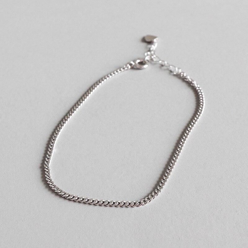 2 Mm DÜnne Authentische 925 Sterling Silber Flache Kubanischen Kette Fußkettchen Armband Einstellen Feine Schmuck Tls128