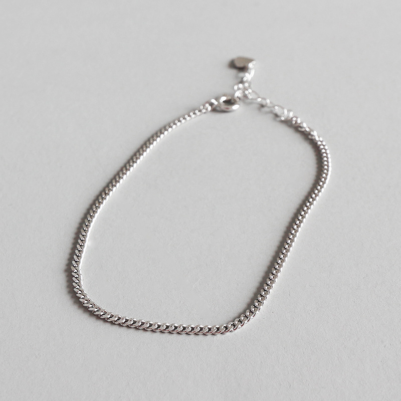 2 Mm Di Spessore Autentico 925 Sterling Silver Piatto Cubano Catena Del Calzino Del Braccialetto Regolare Fine Jewelry Tls128