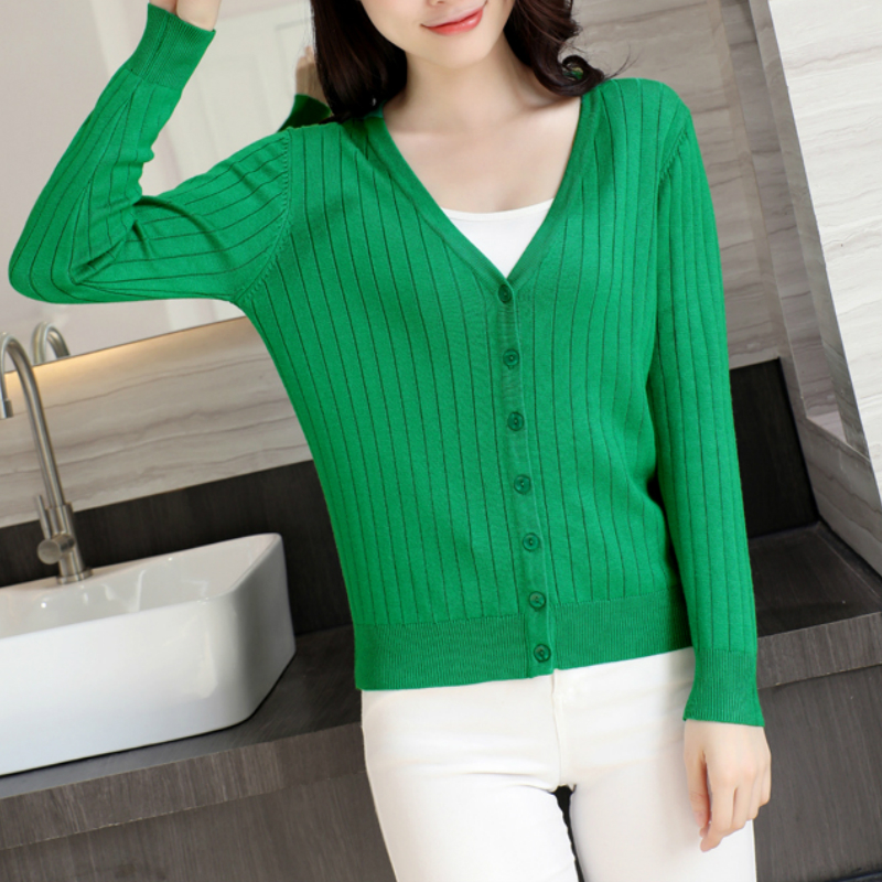 Womens Cardigan Knitted Sweater Long Sleeve Single Breasted V Neck Female Cardigan Buttons Short Sweater Women Cardigans