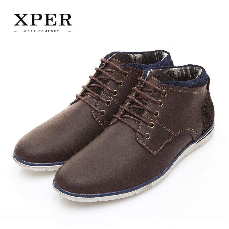 XPER Marque Véritable Cuir Hommes Chaussures Automne Hiver Hommes Bottes 100% cuir de Vache Hommes Casual Bottes Dentelle-up À L'intérieur toile # XAF86001